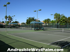These lighted tennis courts offer a great opportunity to engage in an after work tennis match.