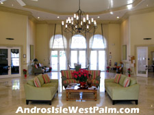 Inside the lobby of the Andros Isle clubhouse.